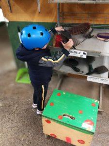 Imagen niño ordenando utensilios de caballo